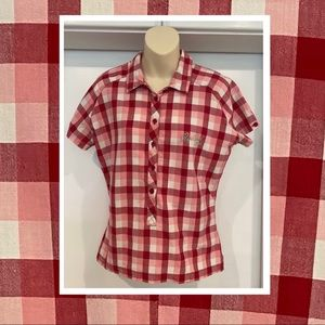 Rip Curl Girls collared pink plaid top size 16